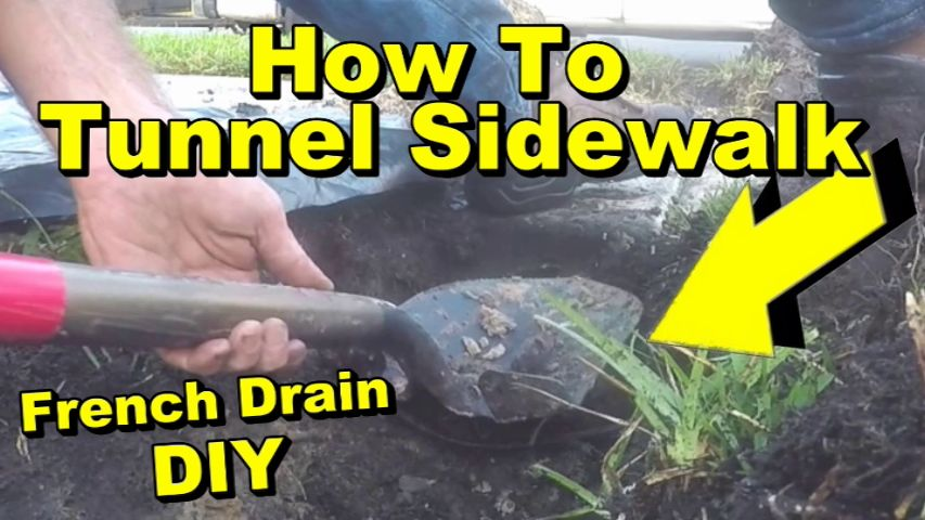 How To Tunnel A Sidewalk For French Drain Pipe With Pop Up